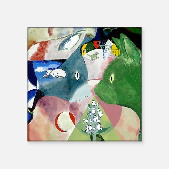 """Chagalls Cats Square Sticker 3"""" x 3"""""""
