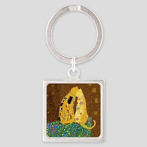 Klimts Kats Square Keychain