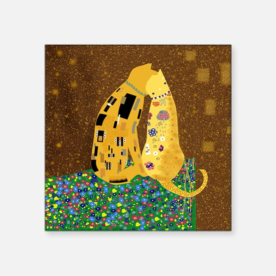 "Klimts Kats Square Sticker 3"" x 3"""