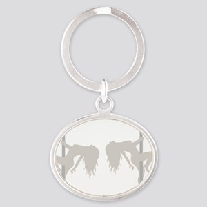 Pole Dancing Strippers Oval Keychain