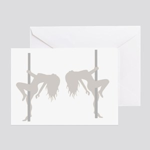 Pole Dancing Strippers Greeting Card