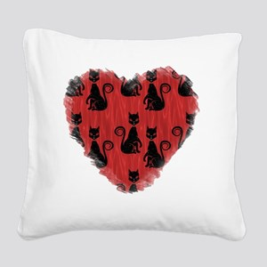 Black Cats on Red Silk Square Canvas Pillow