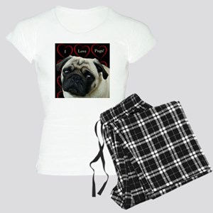 Cute I Love Pugs Women's Light Pajamas
