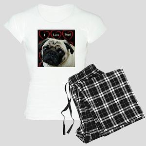 Cute I Love Pugs Women's Light Pajamas