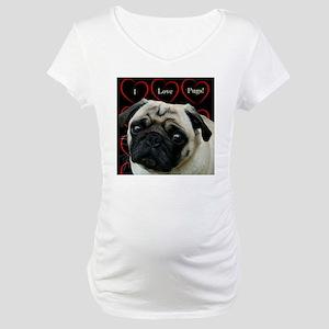 Cute I Love Pugs Maternity T-Shirt