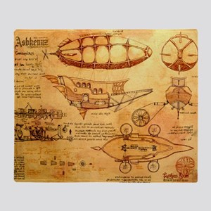 Steampunk Airship Throw Blanket