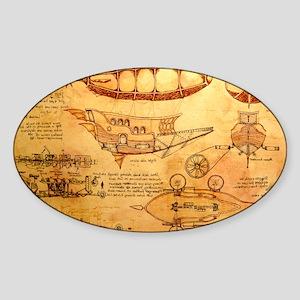 Steampunk Airship Sticker (Oval)
