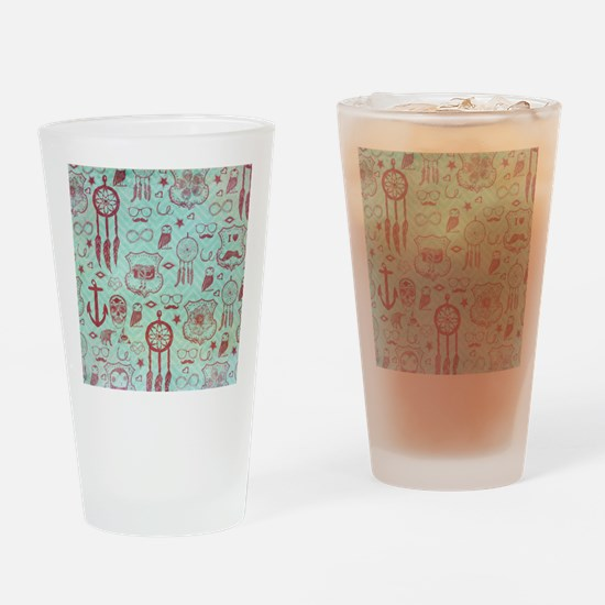 Hipster Drinking Glass