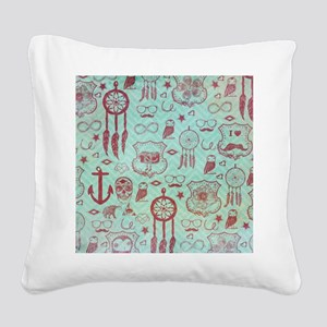 Hipster Square Canvas Pillow