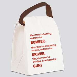 WHY DO WE BLAME THE GUN Canvas Lunch Bag