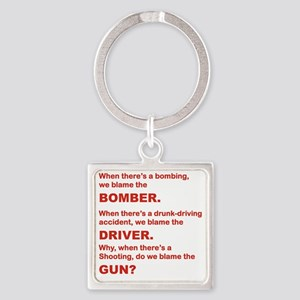 WHY DO WE BLAME THE GUN Square Keychain
