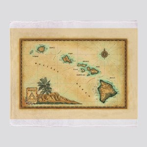 Hawaii map Throw Blanket