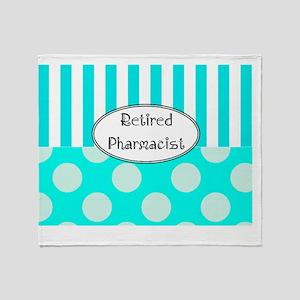 Retired Pharmacist apron blue Throw Blanket