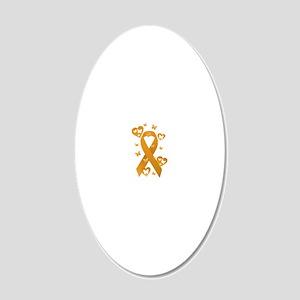 Orange Awareness Ribbon 20x12 Oval Wall Decal