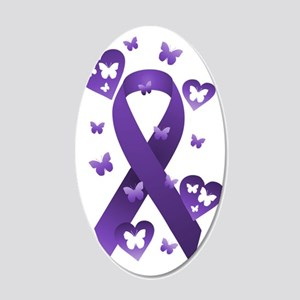 Purple Awareness Ribbon 20x12 Oval Wall Decal