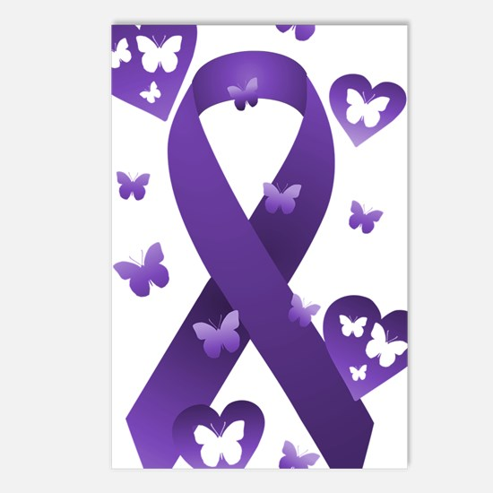 Purple Awareness Ribbon Postcards (Package of 8)