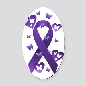 Purple Awareness Ribbon Oval Car Magnet