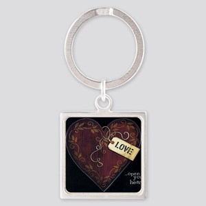 Open your heart... Square Keychain