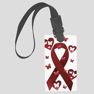 Red Awareness Ribbon Large Luggage Tag