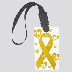Yellow Awarness Ribbon Large Luggage Tag