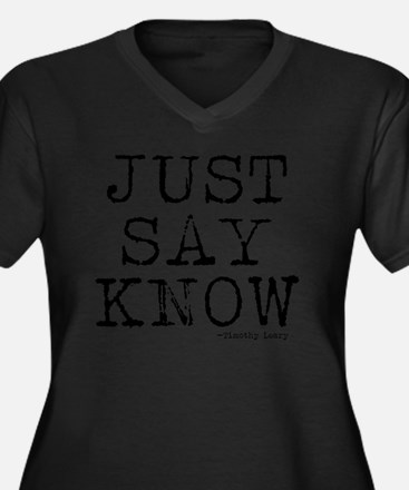 Just Say Kno Women's Plus Size Dark V-Neck T-Shirt