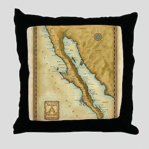 Baja Map Throw Pillow