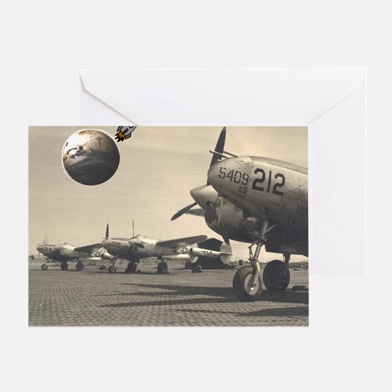 old planes look at the new rocket sh Greeting Card