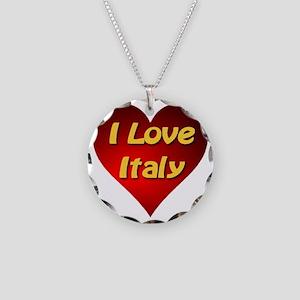 I Love Italy Necklace Circle Charm