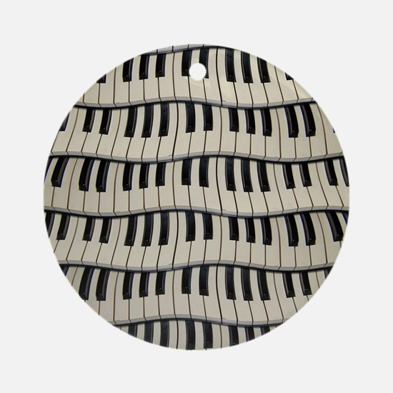 Rock And Rock Piano Keys Round Ornament