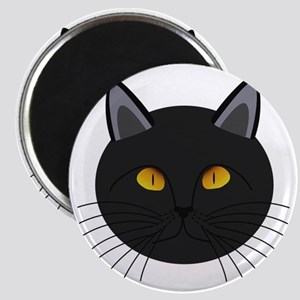 Black Cat-Face Artwork Magnet