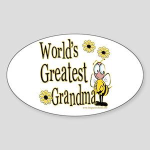 Grandma Bumble Bee Oval Sticker