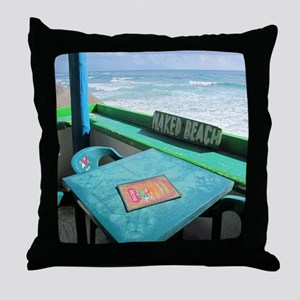 Naked Beach Cozumel Seashore Throw Pillow