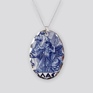 Antique 1935 Greece Pallas Ath Necklace Oval Charm