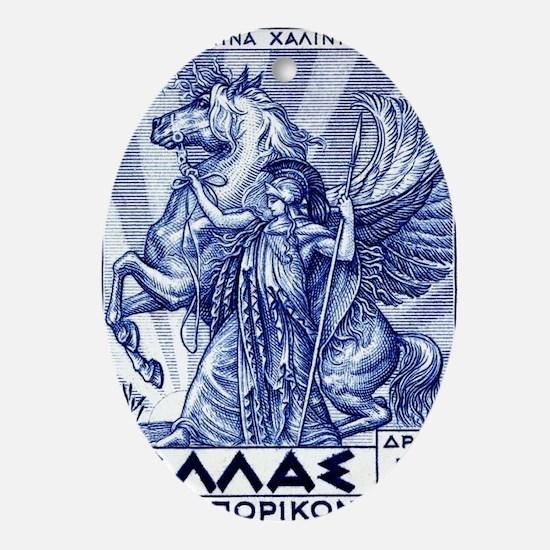 Antique 1935 Greece Pallas Athena Po Oval Ornament