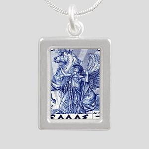 Antique 1935 Greece Pall Silver Portrait Necklace