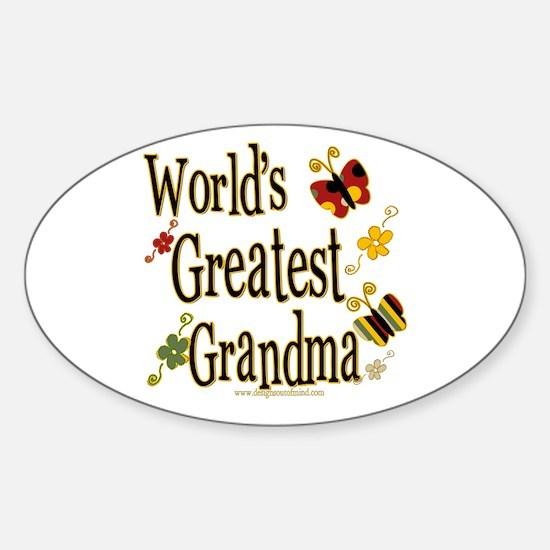 Grandma Butterflies Oval Decal