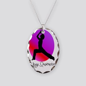 yoga instructor 2 Necklace Oval Charm