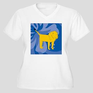 Lion 60 Curtains Women's Plus Size V-Neck T-Shirt
