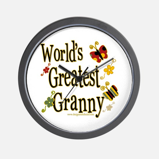Granny Butterflies Wall Clock