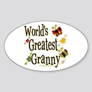 Granny Butterflies Oval Sticker