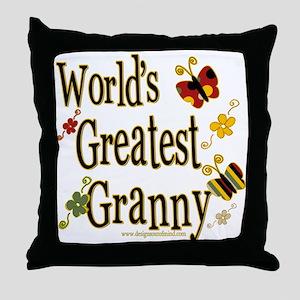 Granny Butterflies Throw Pillow