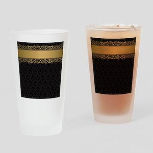 Golden Stripe Vintage Damask Drinking Glass