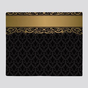 Golden Stripe Vintage Damask Throw Blanket