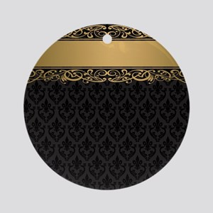 Golden Stripe Vintage Damask Round Ornament