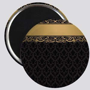 Golden Stripe Vintage Damask Magnet