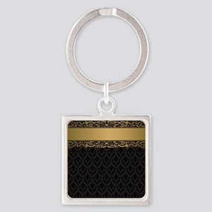 Golden Stripe Vintage Damask Square Keychain
