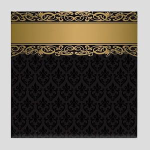 Golden Stripe Vintage Damask Tile Coaster