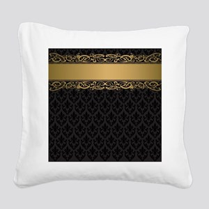 Golden Stripe Vintage Damask Square Canvas Pillow
