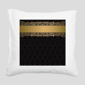 Golden Stripe Vintage Damask Square Canvas Pillow