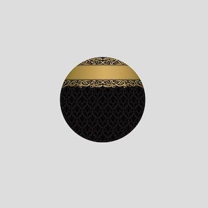 Golden Stripe Vintage Damask Mini Button